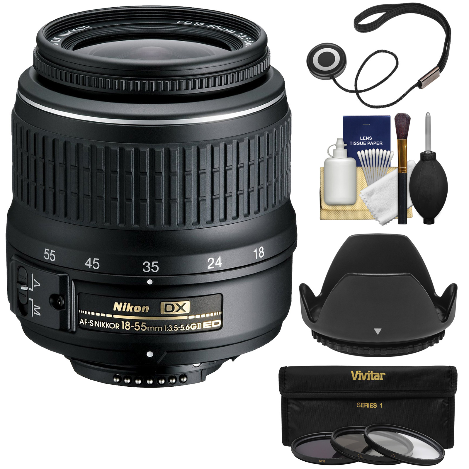 Nikon 18-55mm f/3.5-5.6G II DX AF-S ED Zoom-Nikkor Lens with 3 Filters + Hood Kit for D3200, D3300, D5300, D5500, D7100, D7200 Cameras