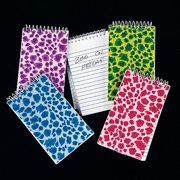 Adorox Assorted Bright Plush Animal Print Spiral Bound Notebooks Classroom (Assorted (12 Notebooks))