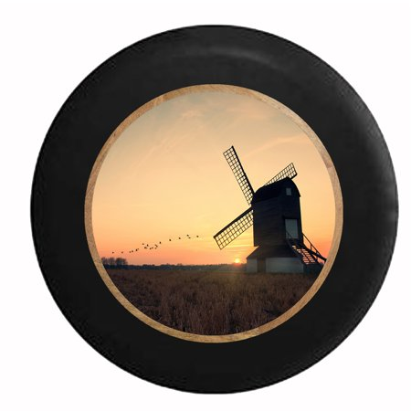 Windmill On The Farm As The Morning Sun Rises Jeep Rv Camper Spare Tire Cover Black 31 In