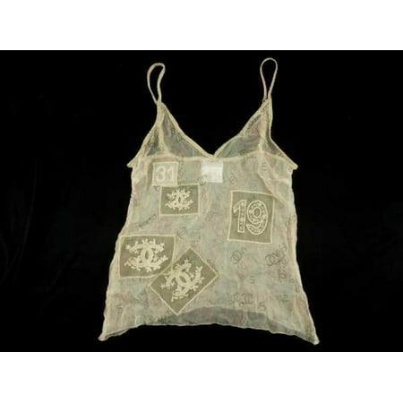 Cc Logo Sheer Camisole Tank Top Blouse 231188 Cream Silk Tote