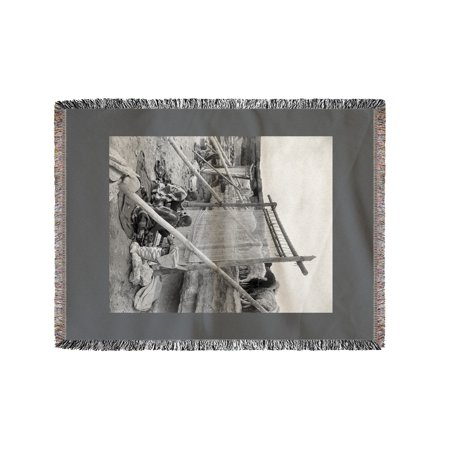 Navajo Women Weaving Blankets - Vintage Photograph (60x80 Woven Chenille Yarn