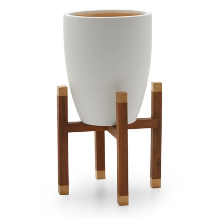 MoDRN Scandinavian Earthenware Planter with Wood Stand