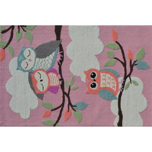 "The Rug Market Owl On A Limb Pink 2.8"" x 4.8"" Area Rug"