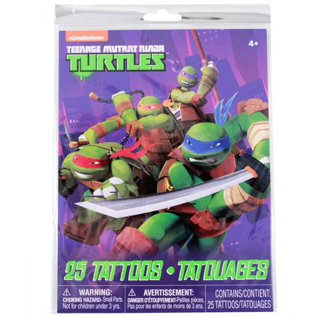 Teenage Mutant Ninja Turtles Temporary Tattoos 25pc Set Kids Party Favor Toy - Ninja Turtles Favors