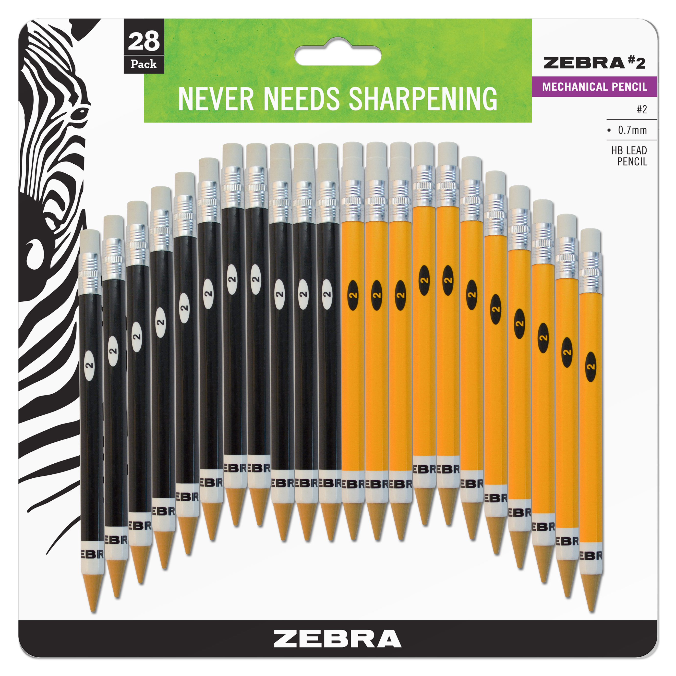 Zebra #2 Mechanical Pencil, 0.7mm Point Size, Standard HB Lead, Assorted Barrel Colors, 28-Count
