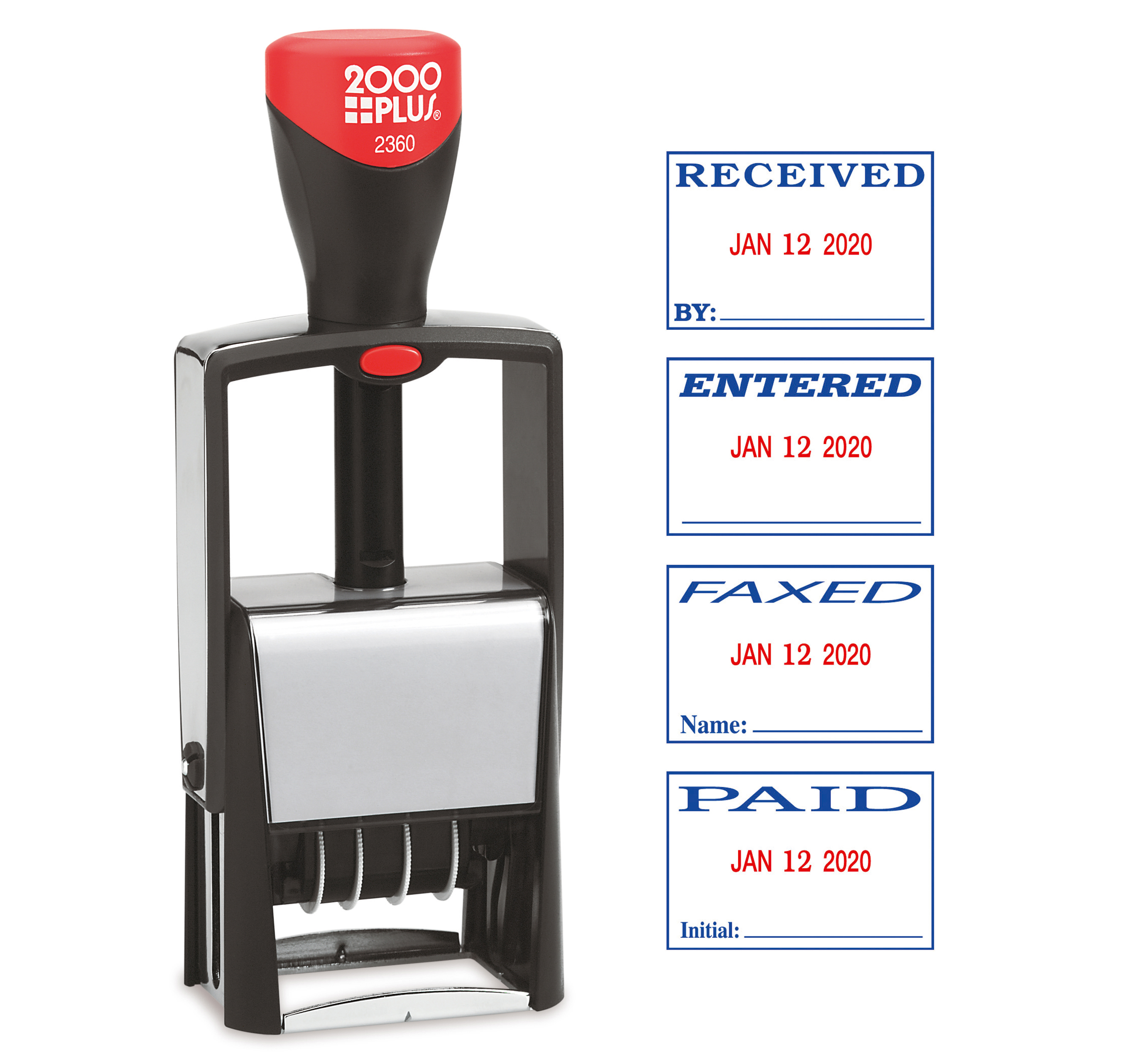 2000PLUS® 4 in 1 Date and Message Stamp, FAXED, PAID, ENTERED, RECEIVED, Red and Blue Ink