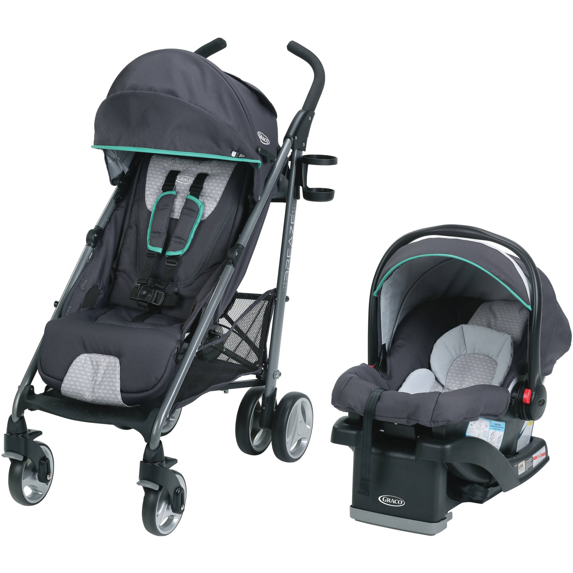Graco Breaze Travel System Stroller with SnugRide Click Connect 35 Infant Car Seat, Basin