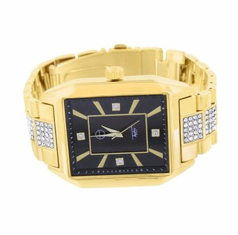 Mens Gold Tone Watch Techno Pave Jojino Jojo Rectangle Face Womens Lab Created Cubic Zirconia