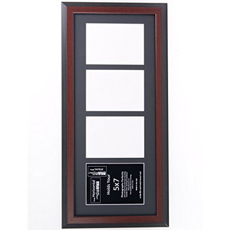 Creative Letter Art 4 Opening Mahogany Picture Frame with Glass to hold 5 by 7 inch Photographs including 10x24-inch Black Mat Collage ()