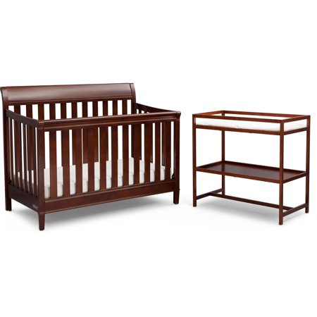 Delta Children Harbor 4-in-1 Convertible Crib & Changing Table Set Espresso (Child Of Mine Crib And Changing Table Combo)