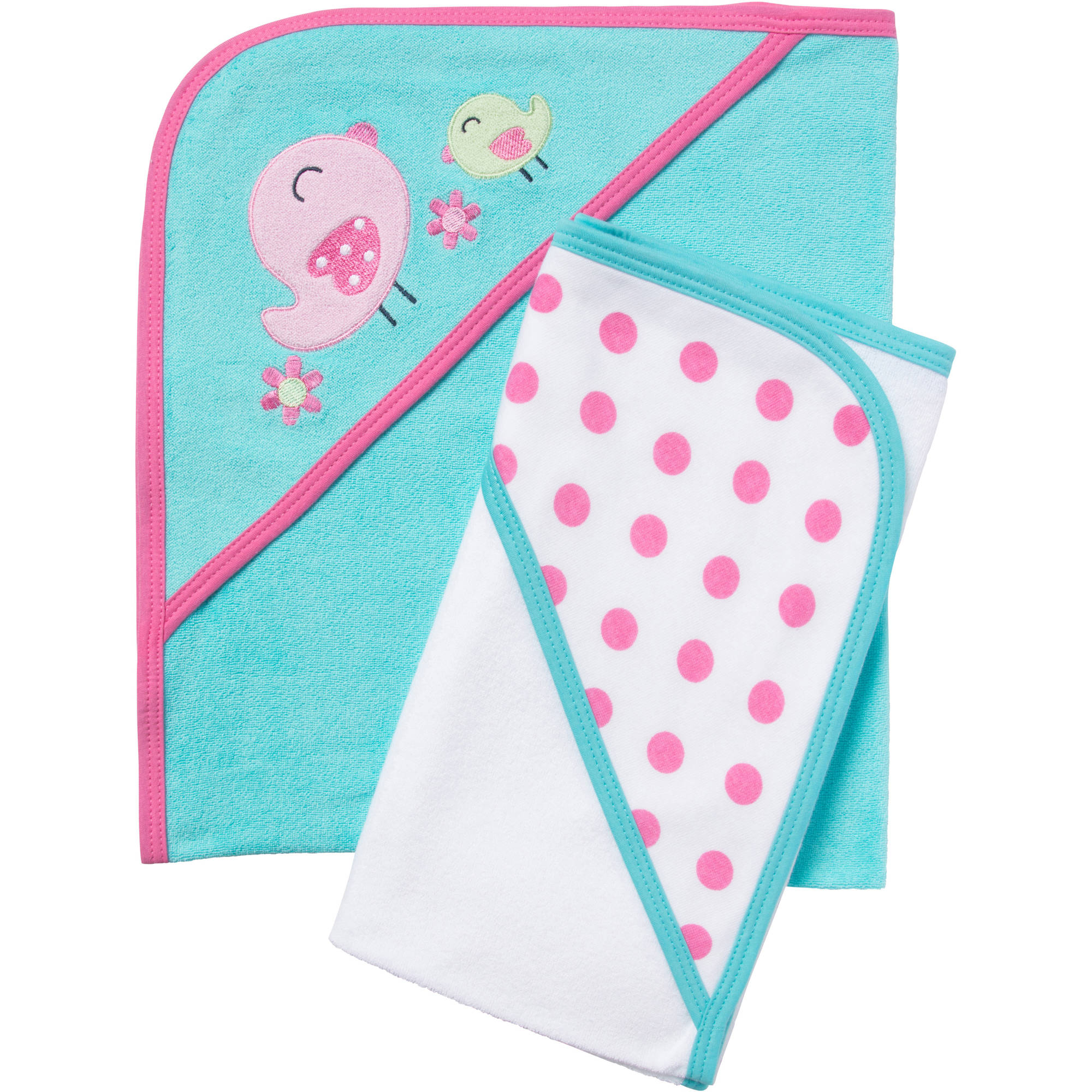 Gerber Newborn Baby Girl Terry Hooded Bath Towels, 2-Pack