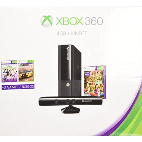 Refurbished Xbox 360 4GB Kinect Holiday Bundle With 3 Games Forza Horizons Kinect Sports And Kinect Adventures