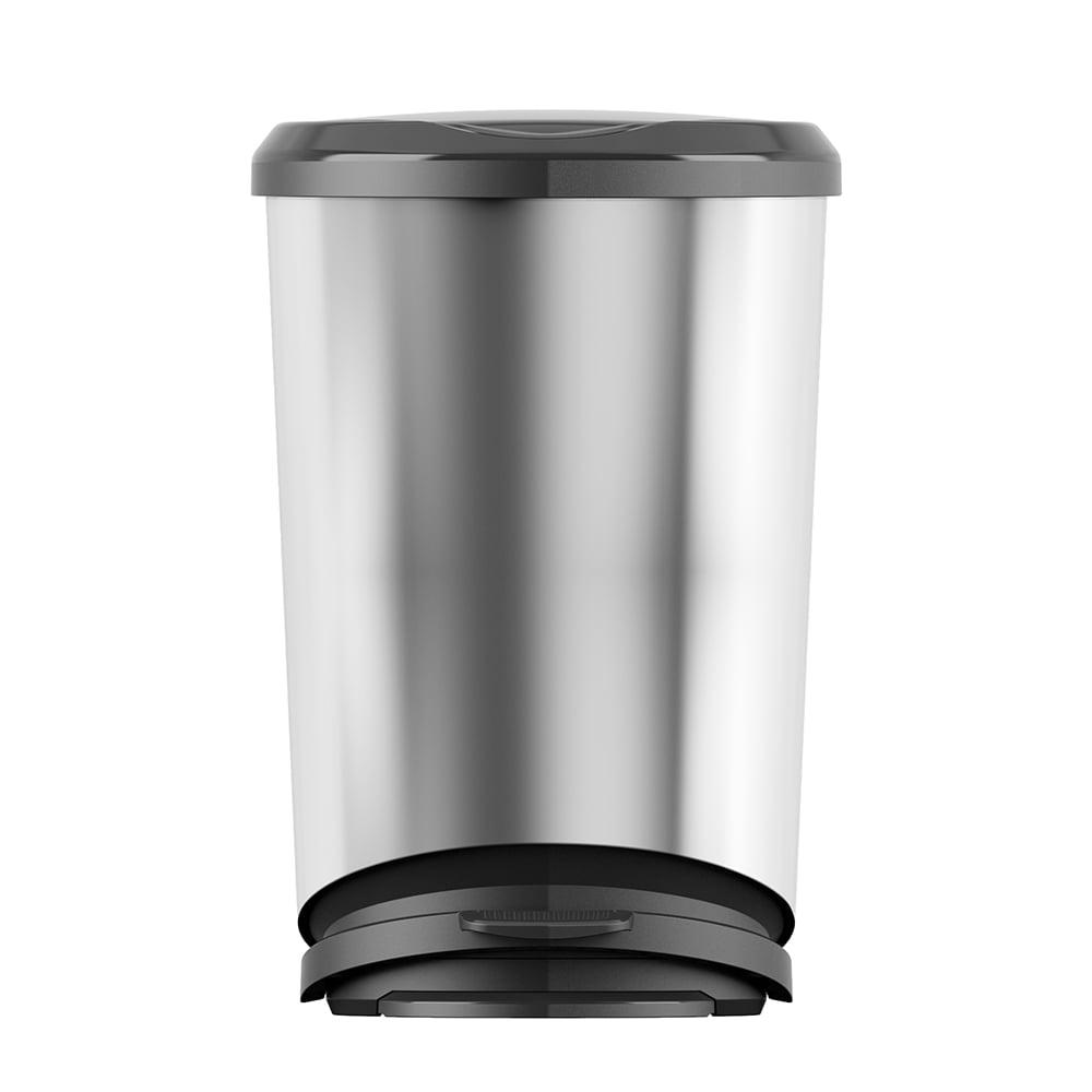 Curver Tondo 11 Gallon Plastic Step Trash Can Stainless Steel Look Wastebasket Walmart Com Walmart Com
