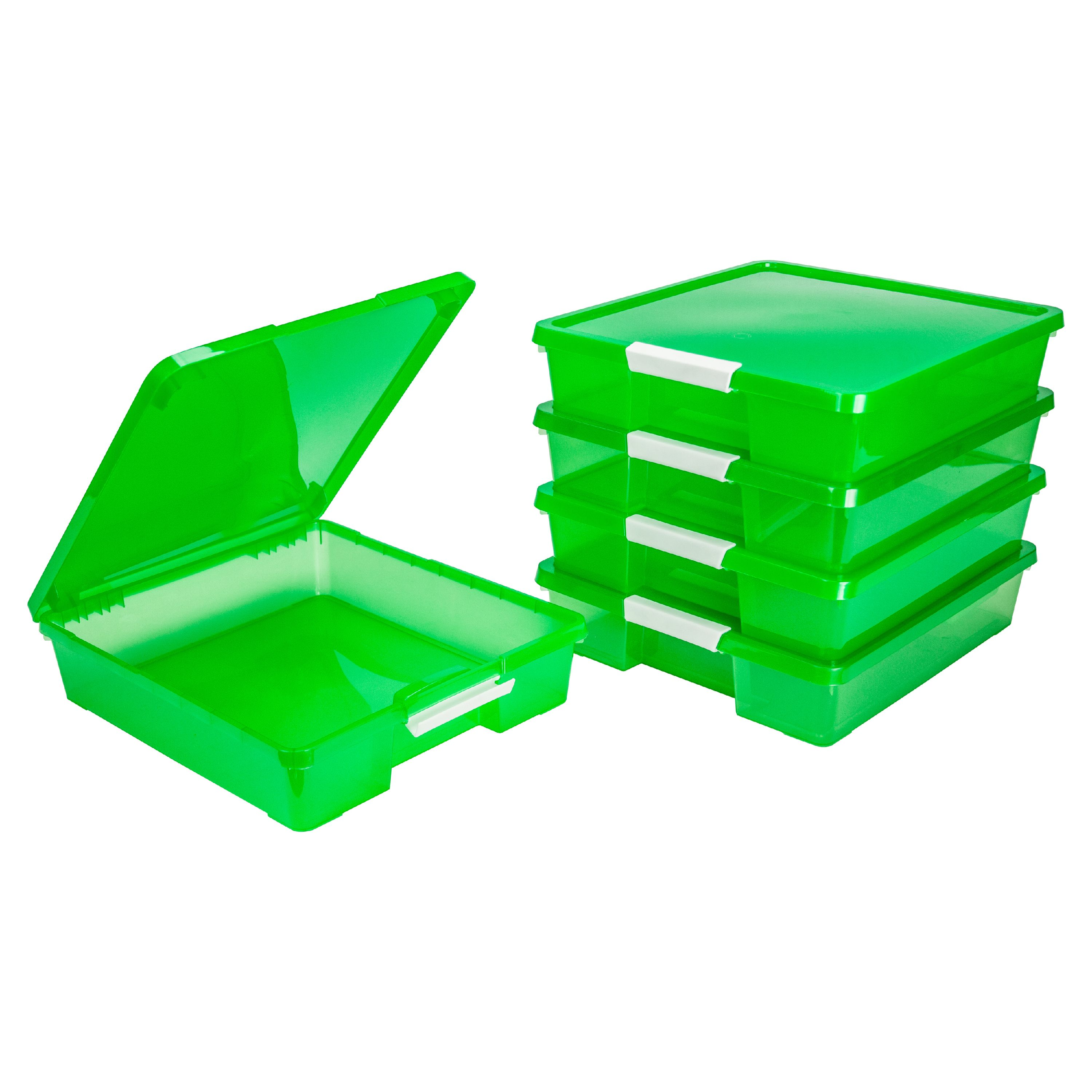 Storex Classroom Student Project Box, 12 x 12 Inches, Transparent Green, 5-Pack