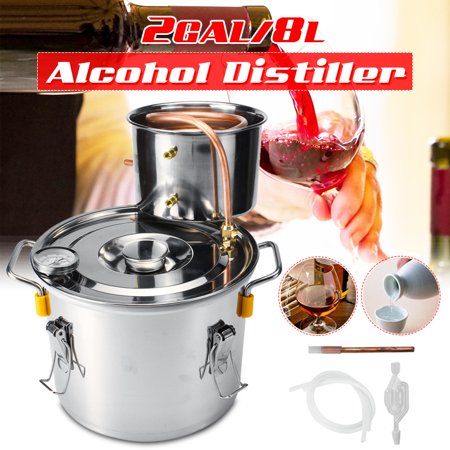 2Gal 8L/5Gal 20L/8Gal 30l Distilled Alcohol Beer Wine Water Moonshine Still Stainless Steel Copper Spirits Boiler Distiller Equipment For Home Brew Distilling Self-making Healthy