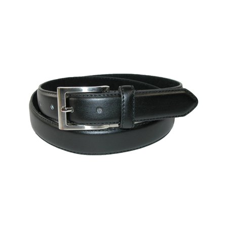 Men's Leather 1 1/8 Inch Basic Dress Belt with Silver (2 Mens Dress Belts)