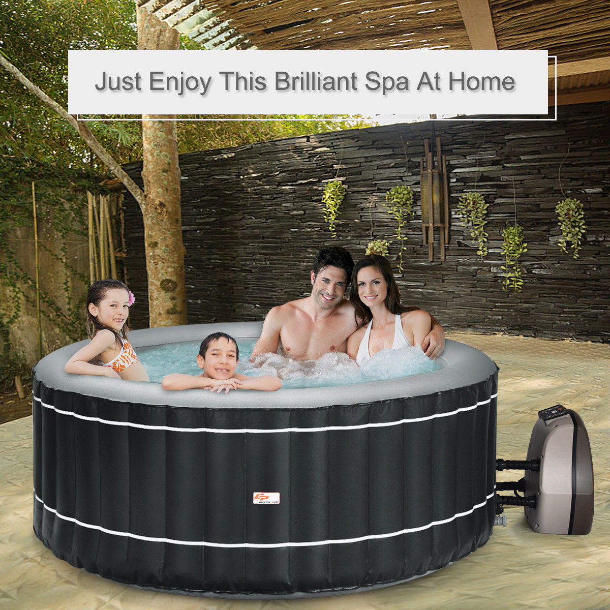 4-Person Inflatable Hot Tub Portable Outdoor Bubble Jet Leisure Massage Spa Gray - image 3 of 8