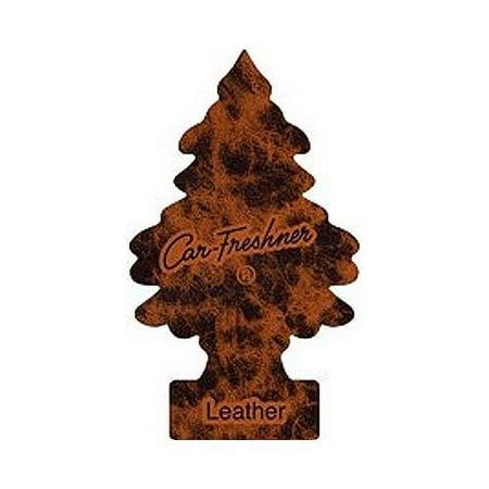 Leather Package - 8 Pack Car Freshner 32290 Little Trees Air Freshener Leather Scent - 3 Trees per Package