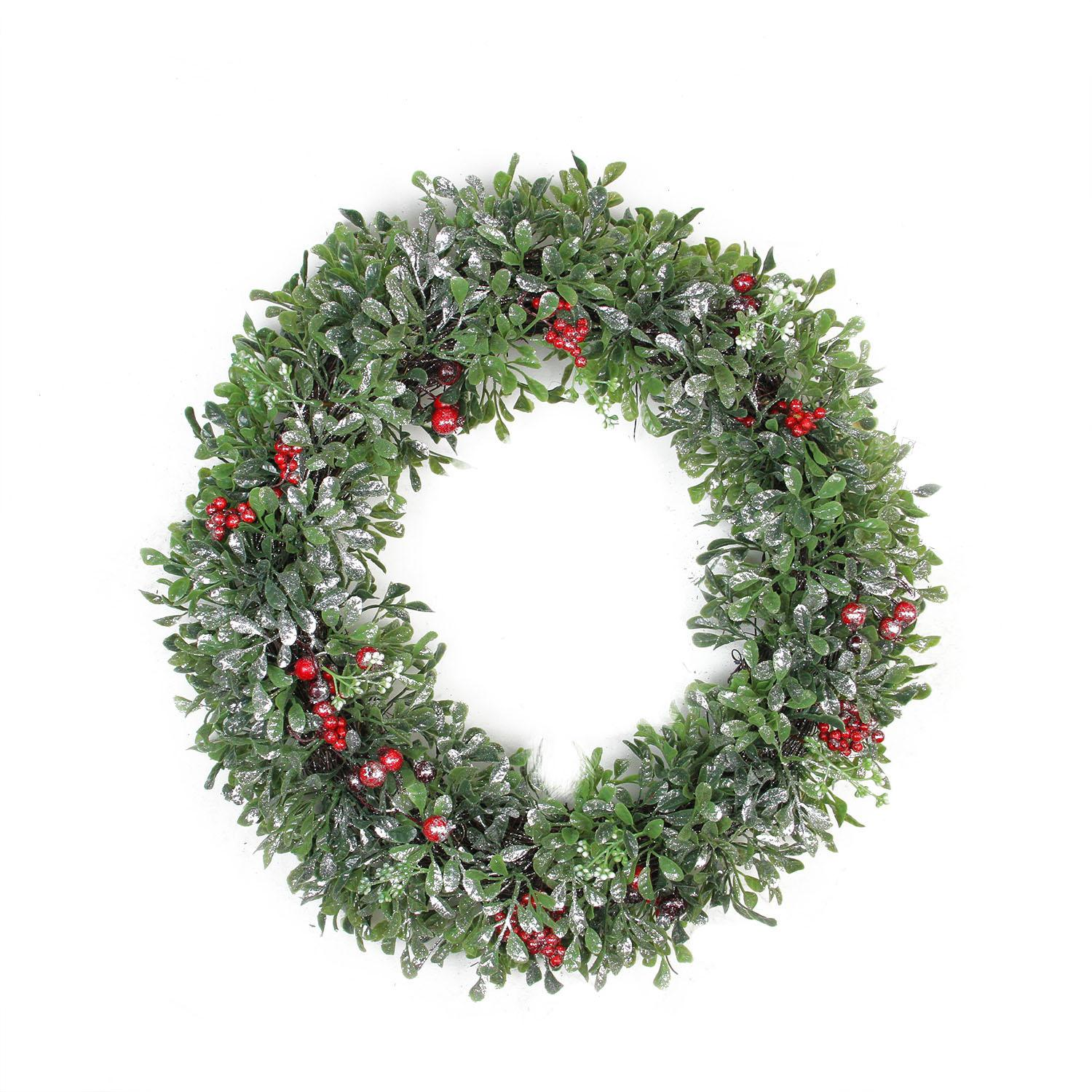 Northlight 20 Boxwood and Berries Pine Cone Artificial Christmas Wreath  -  Unlit