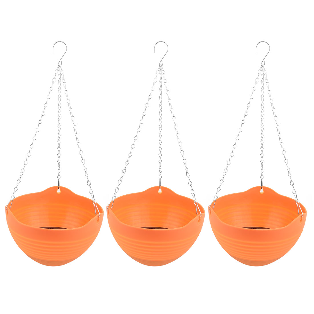 Parterre Plastic DIY Chain Hanging Flower Orchid Cactus Pot Holder Orange 3pcs