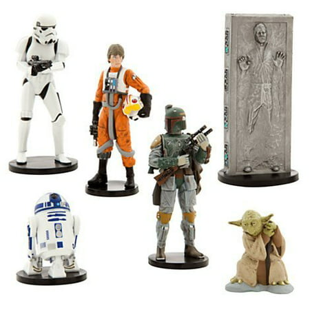 Disney Star Wars Collectible Figures Toy Playset Theme Park Exclusive - The Empire Strikes Back - Luke Skywalker, R2-D2, Yoda, Stormtrooper, Han Solo, Boba - Walmart Star Wars Toys