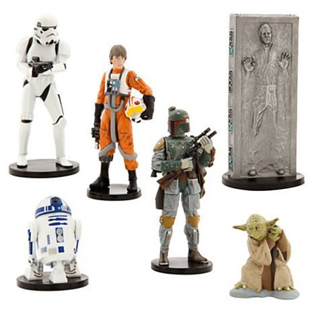Disney Star Wars Collectible Figures Toy Playset Theme Park Exclusive - The Empire Strikes Back - Luke Skywalker, R2-D2, Yoda, Stormtrooper, Han Solo, Boba Fett - Boba Fett Jetpack Backpack
