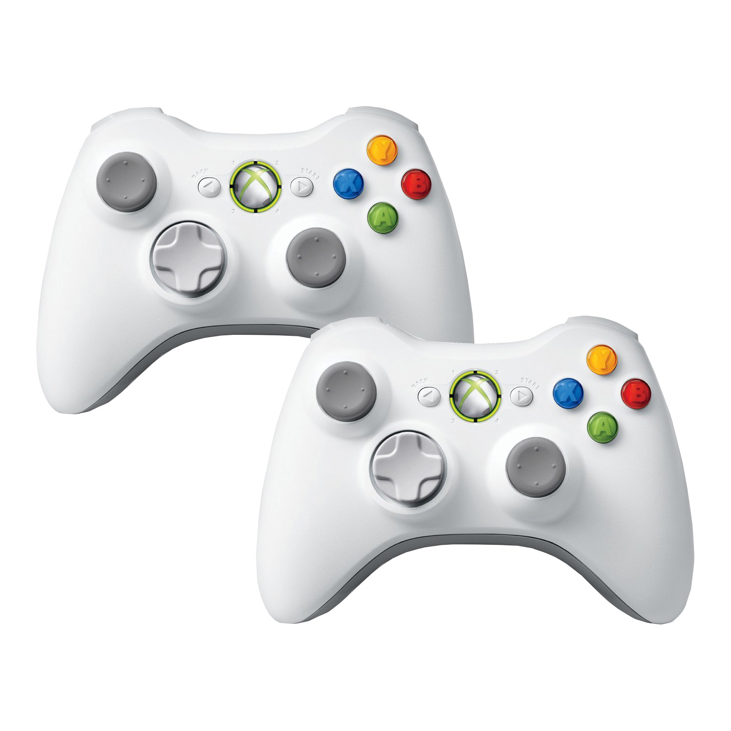 Refurbished 2 Pack Microsoft Official Xbox 360 Wireless Remote Controller - White