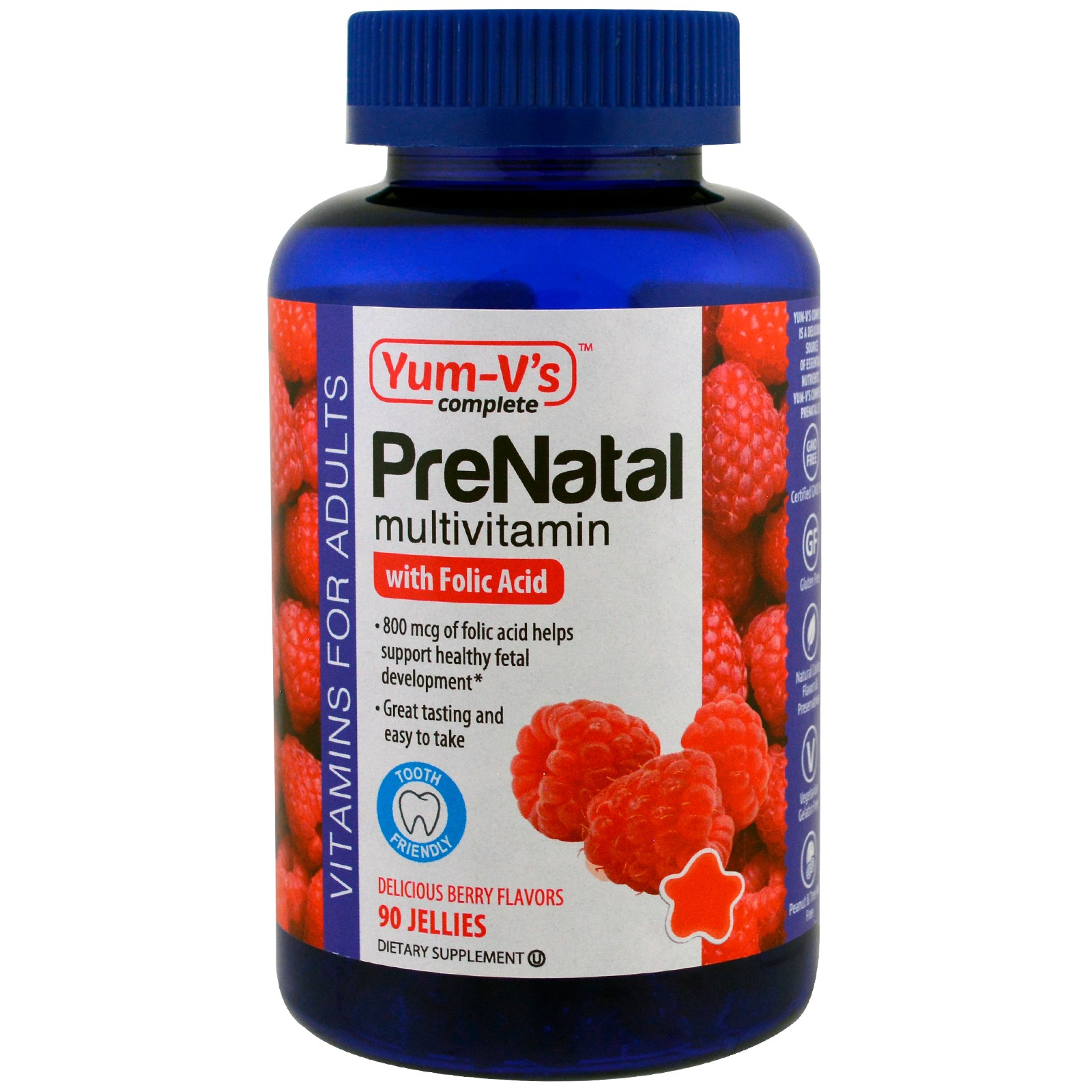 Yum-V's, PreNatal Multivitamin with Folic Acid, Berry Flavors, 90 Jellies(pack of 3)