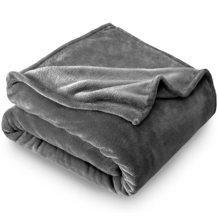 Tied Fleece Blanket (Bare Home Ultra Soft Microplush Velvet Blanket - Luxurious Fuzzy Fleece Fur - All Season Premium Bed Blanket (Full / Queen, Gray))