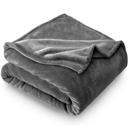 Bare Home Ultra Soft Microplush Velvet Blanket - Luxurious Fuzzy Fleece Fur - All Season Premium Bed Blanket (Full / Queen, Gray)