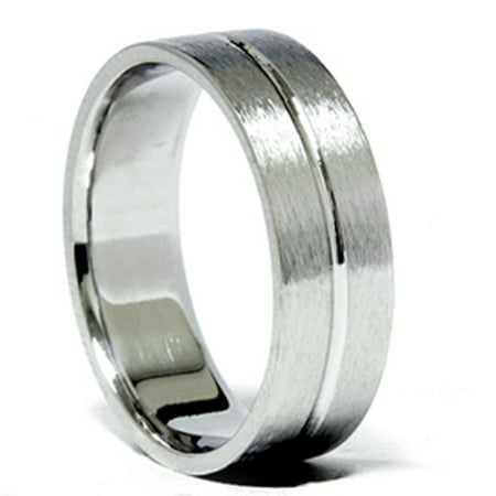 Channel Brushed Wedding Band 950 Platinum - image 2 of 2
