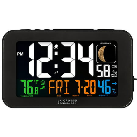 617-1485B Atomic Color Alarm Clock with USB Charging Port, Atomic self-setting time and date with automatic Daylight saving time reset By La Crosse Technology