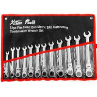 XtremepowerUS 12pcs Flex-Head Combination Wrench Set Ratcheting Duo Metric SAE Ratchet Tool with Roll Case Kit