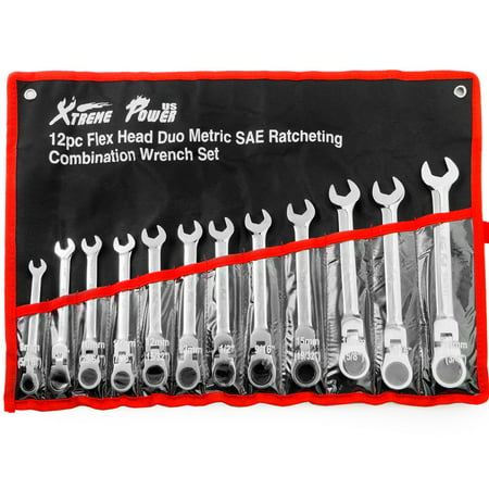 7 Piece Flex Head Wrench - 12PC FLEX Head Ratchet Combination Wrench Tool Set Ratcheting Combination Roll Case, SAE