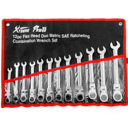 12PC FLEX Head Ratchet Combination Wrench Tool Set Ratcheting Combination Roll Case,