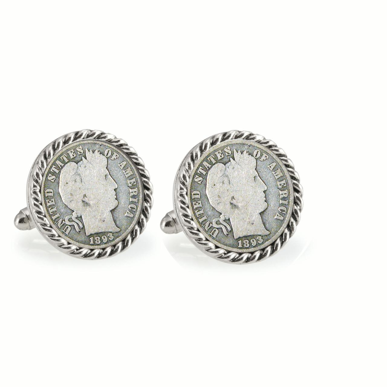 1800's Silver Barber Dime Silvertone Rope Bezel Coin Cuff Links