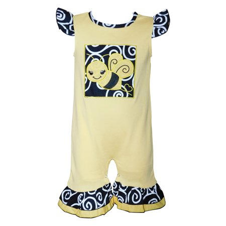 AnnLoren Baby Girls Boutique Cotton Yellow Bumble Bee Romper One Piece