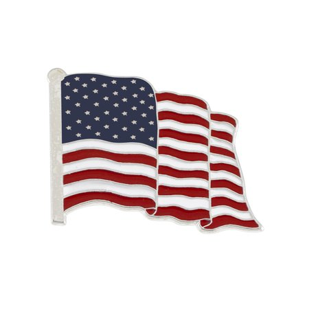 Wholesale American Flag Enamel Lapel Pin-- PROUDLY MADE IN USA (Silver Tone) (1 Pin) for $<!---->