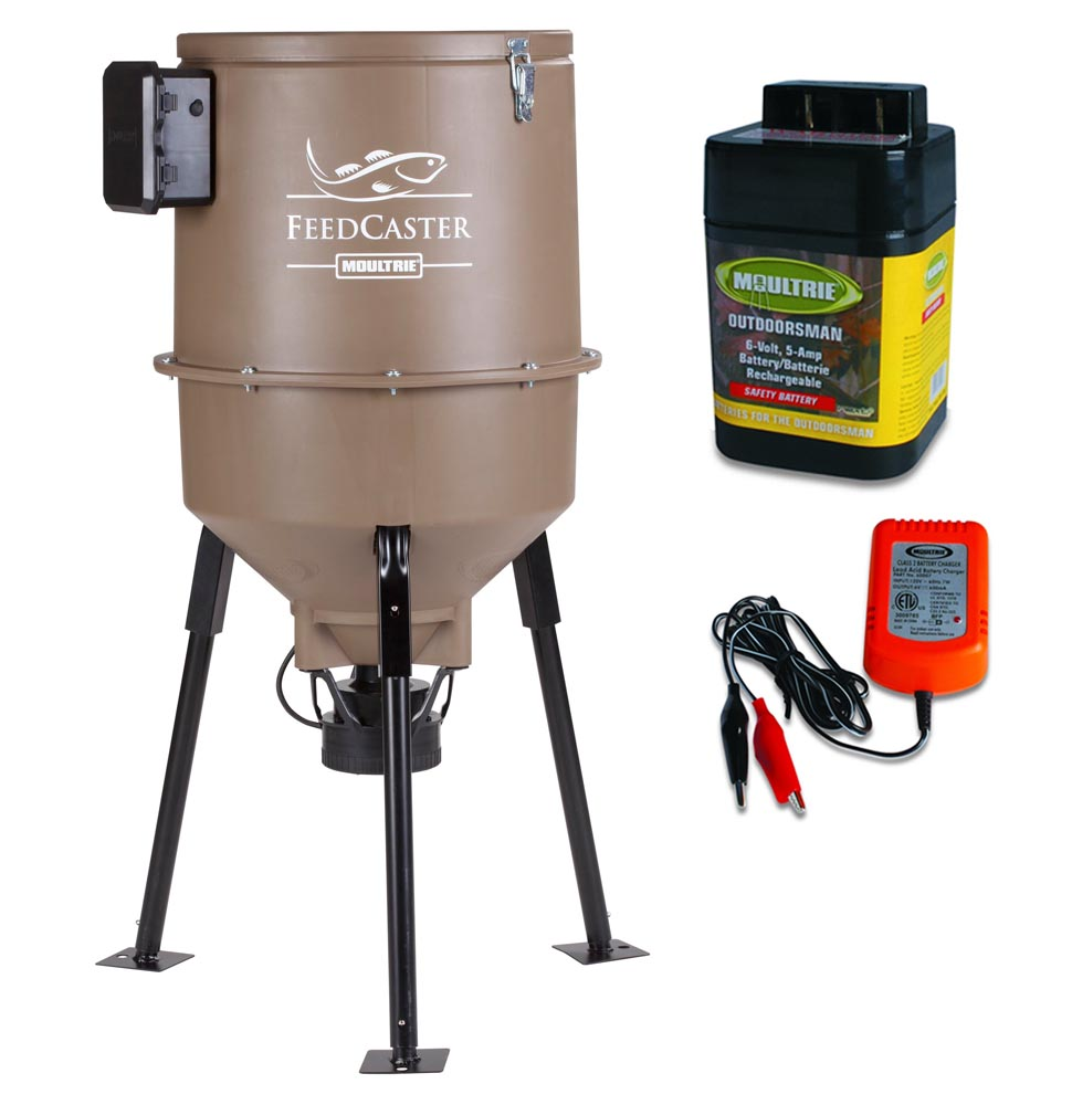 MOULTRIE 30 Gallon Feedcaster Pro Tripod Fish Feeder + 6 Volt Battery & Charger