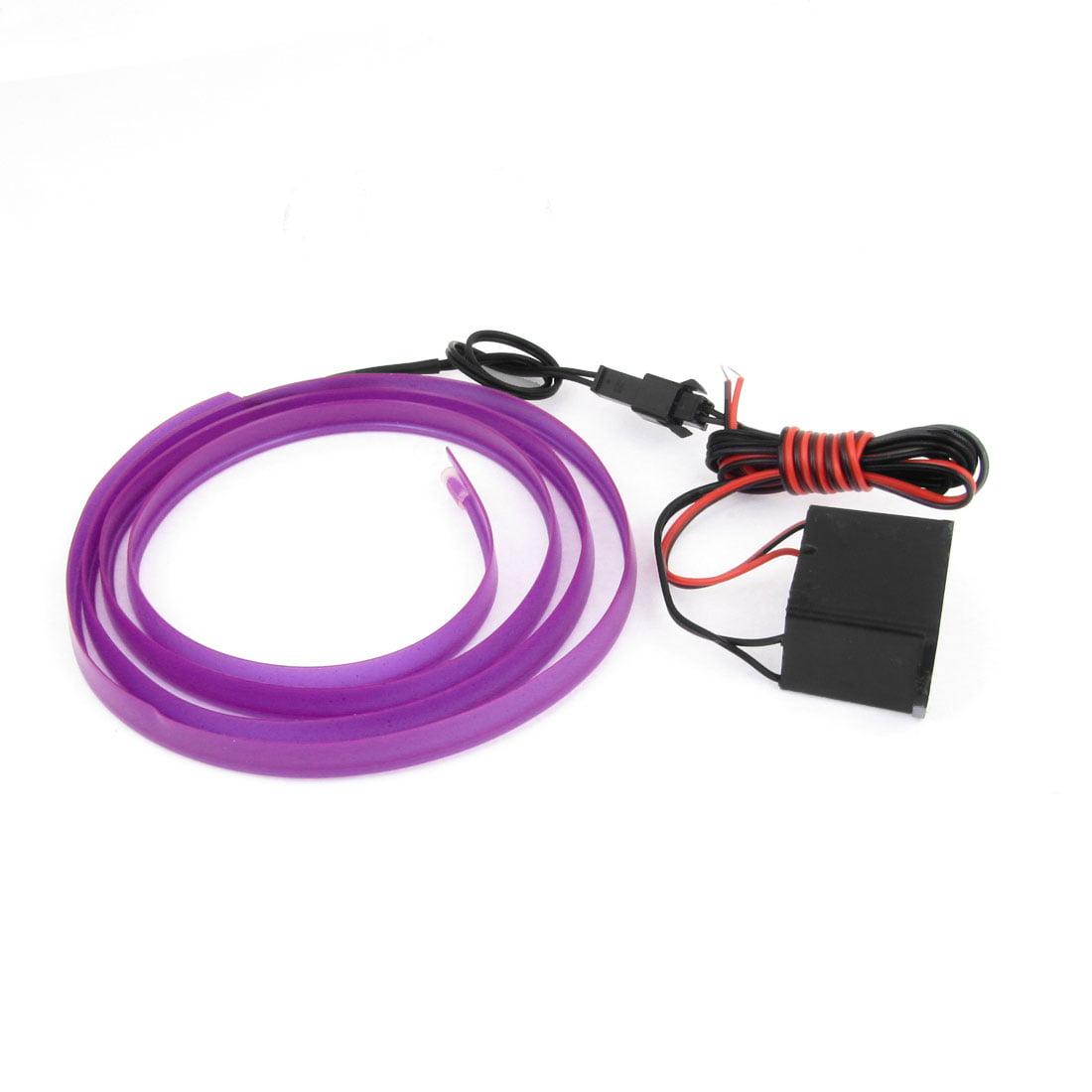 Purple 1M Sewable EL Wire Neon Glow Light Rope Sew Tag Strip w Controller