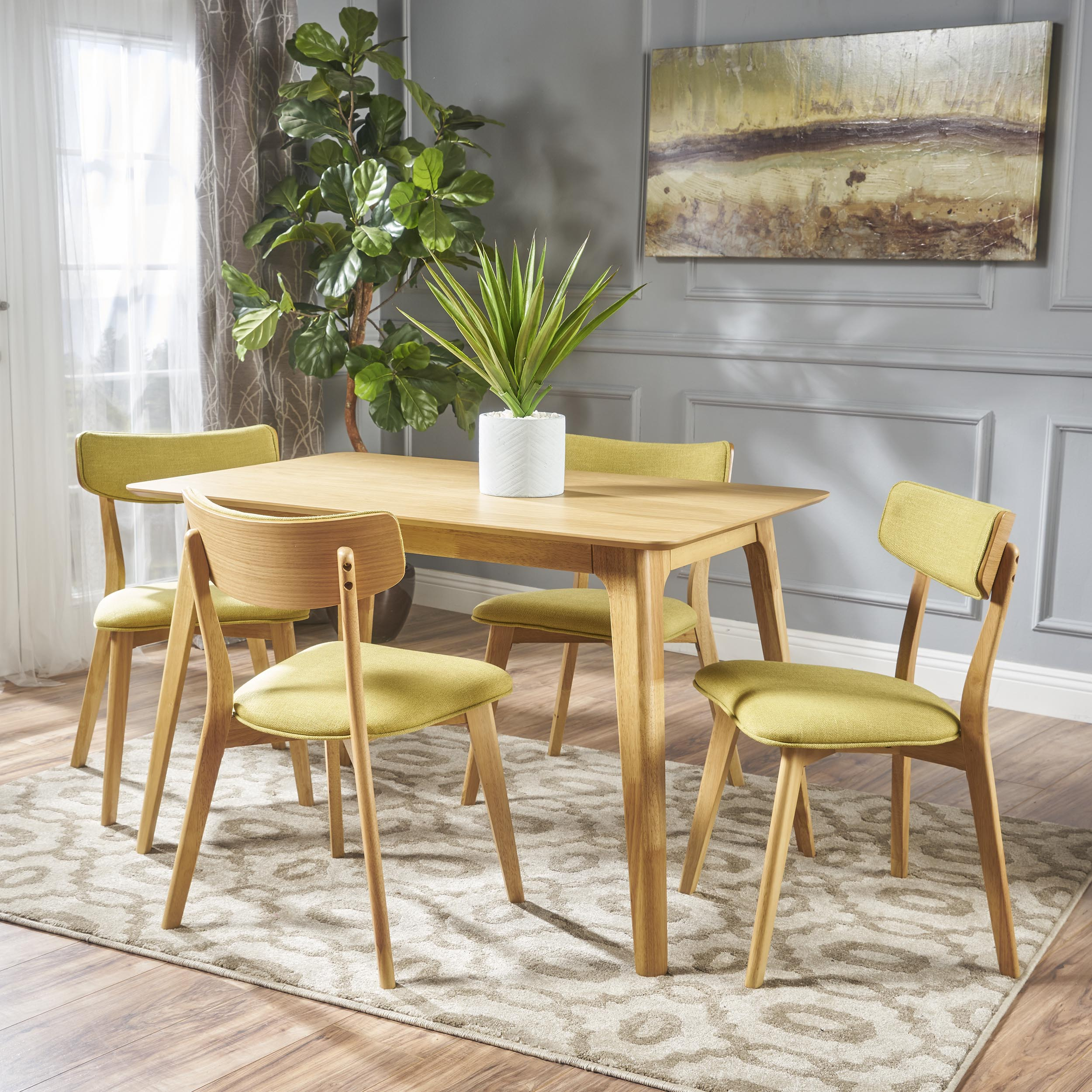 Meanda Mid Century 5 Piece Wood Dining Set with Fabric Chairs, Natural Oak and Green Tea