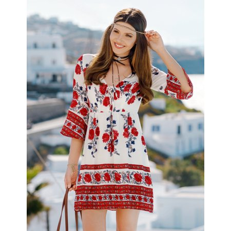 Ever-Pretty Womens Vintage Long Sleeve Floral Boho Lace Up Neckline Sun Beach Holiday Party Summer Casual Dresses for Women 05657 US - Cat Woman Dress Up