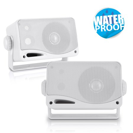 PYLE PLMR24 - 3-Way Weatherproof Outdoor Speaker Set - 3.5 Inch 200W Pair of Marine Grade Mount Speakers - in a Heavy Duty ABS Enclosure Grill