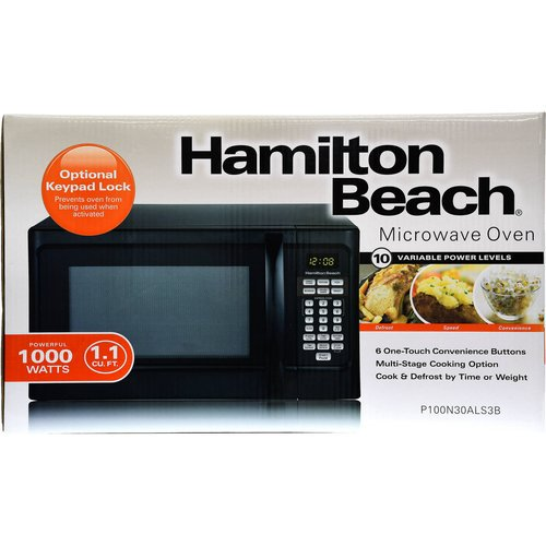 Hamilton Beach 1 1 Cu Ft Microwave Black Walmart Com