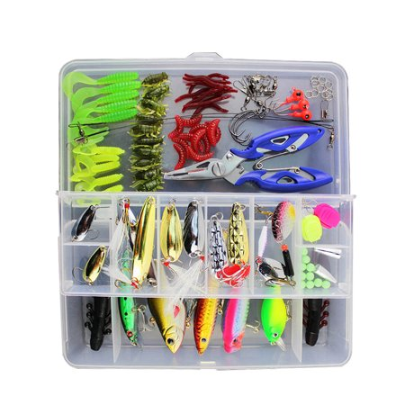 Mosunx 101pcs Trout Bass Fishing Lures Crankbaits Set Kit Soft and Hard Bait Hooks+ (Best Soft Bait For Bass)