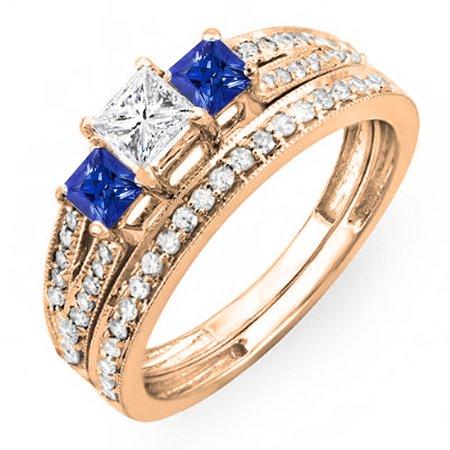 1.00 Carat (ctw) 10K Rose Gold Princess Cut Blue Sapphire Accent Stone & White Diamond Ladies 3 Stone Bridal Engagement