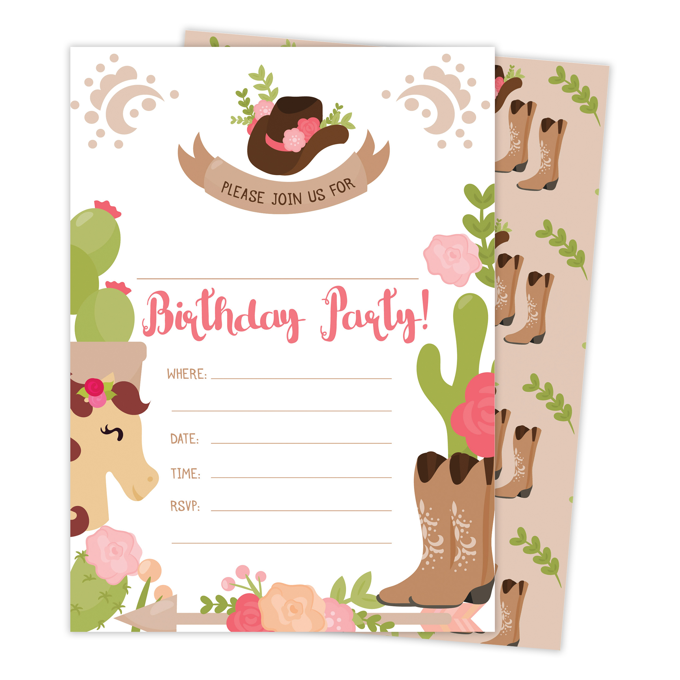 Cowgirl Cow Girl Happy Birthday Invitations Invite Cards (25 Count) with Envelopes & Seal Stickers Boys Girls Kids Party
