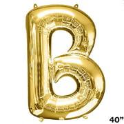 "BalsaCircle Gold 1 pc 40"" tall Mylar Foil Balloon - Wedding Event Graduation Party Decorations Supplies"