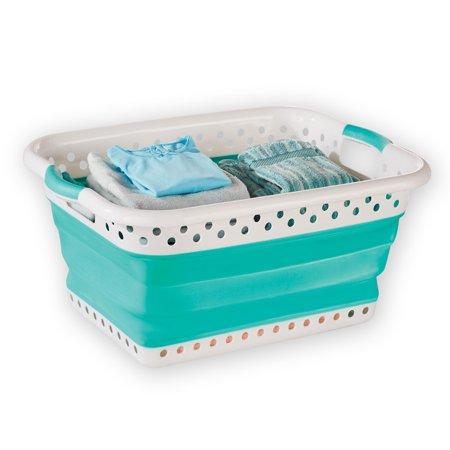 collapsible pop up plastic laundry basket folding design for easy storage. Black Bedroom Furniture Sets. Home Design Ideas