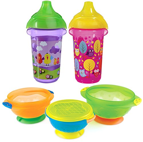 Munchkin Click Lock Deco 9 Ounce Sippy Cup, 2 Pack with Stay Put Suction Bowl...